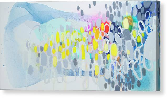 Abstract Canvas Print featuring the painting Ten O'clock Flight by Claire Desjardins