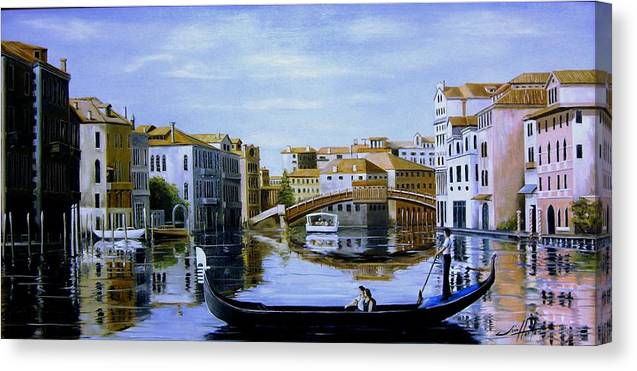 Venice Canvas Print featuring the painting Venice Canal Ride by Jim Horton