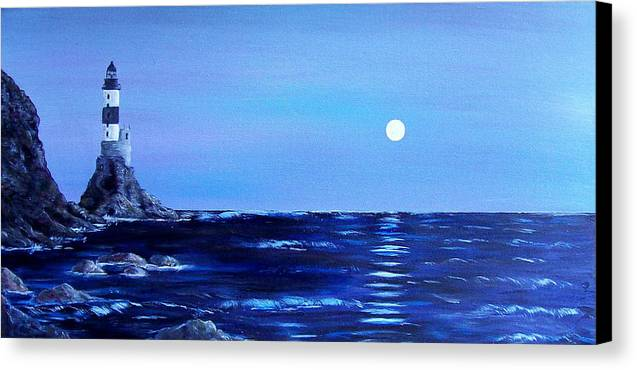 Seascape Canvas Print featuring the painting Sakhalin Lighthouse by Tony Rodriguez