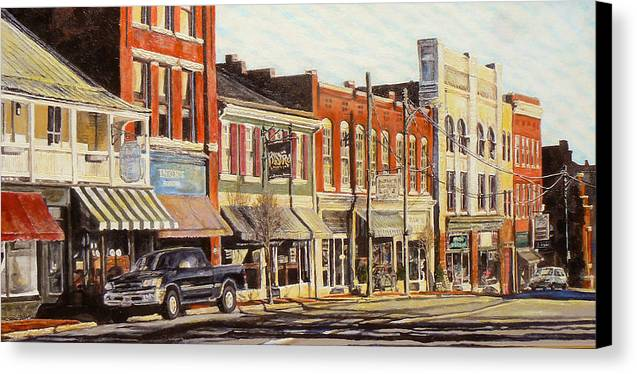City Scene Canvas Print featuring the painting Sunday Morning by Thomas Akers