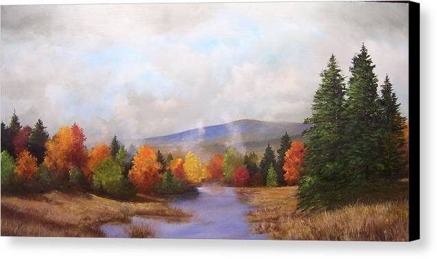 Fall Canvas Print featuring the painting Fall Pond Scene by Ken Ahlering