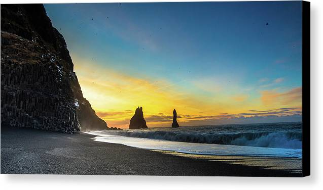 Vik Iceland Canvas Print featuring the photograph Turning The Trolls To Stone by Corey O'Neil