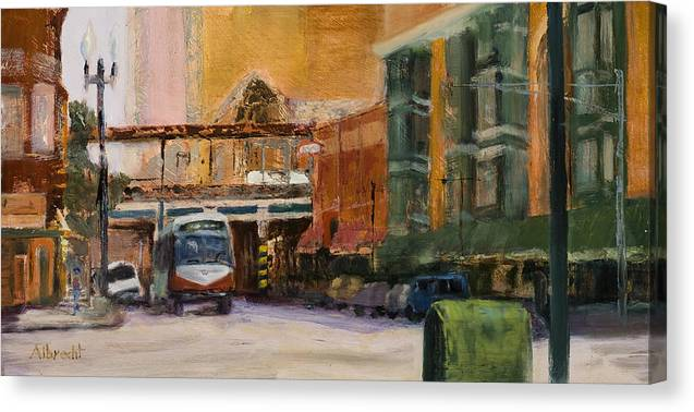 Bus Canvas Print featuring the painting Bryn Mawr Edgewater El Stop by Nancy Albrecht