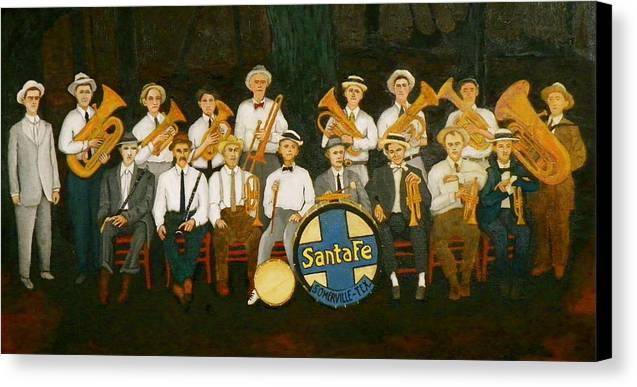 Railroad Canvas Print featuring the painting Santa Fe Band by John Pinkerton