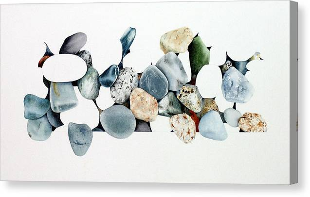 Seascape Canvas Print featuring the painting Abstract Stones 34 by Terry OMaley