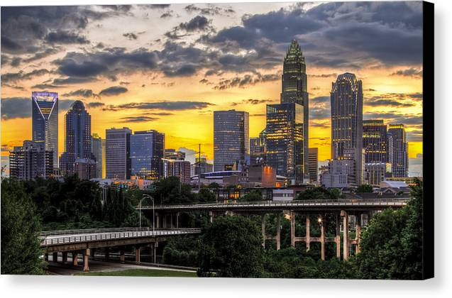 Charlotte Canvas Print featuring the photograph Charlotte Dusk by Chris Austin
