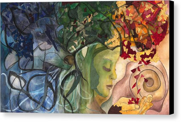 Deer Canvas Print featuring the painting Deer Woman by Kimberly Kirk
