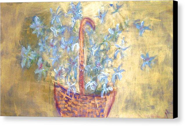 Floral Canvas Print featuring the painting Wicker Basket Of Garden Flowers by Michela Akers