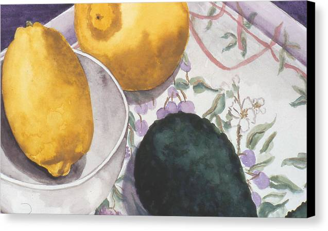 Still-life Canvas Print featuring the painting Lemons And Avocado Still-life by Caron Sloan Zuger
