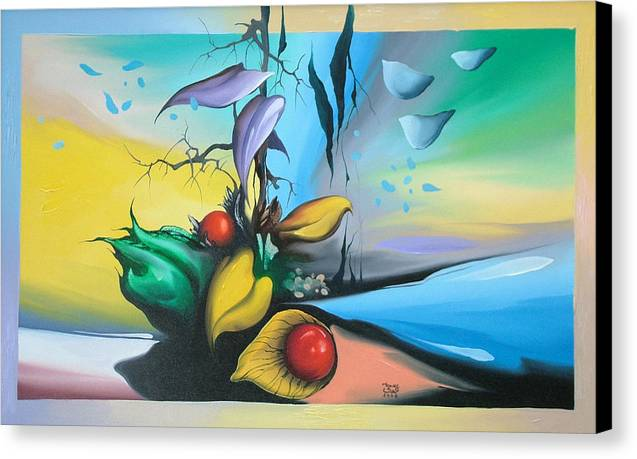 Canvas Print featuring the painting Watershed by Zoltan Ducsai