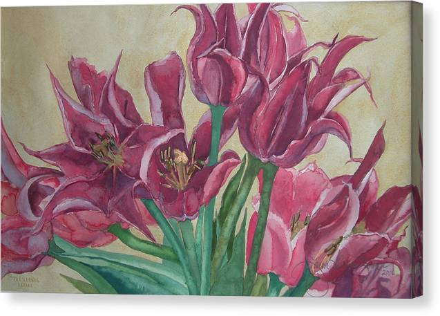 Watercolor Canvas Print featuring the painting Mini-tulip Bouquet - 8 by Caron Sloan Zuger