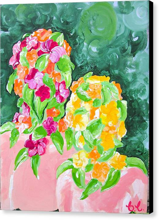 Figures Canvas Print featuring the painting Flower Heads by Britta Loucas