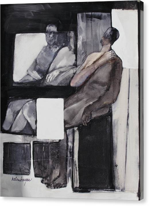 Figures Canvas Print featuring the painting White Square by Helen Hayes
