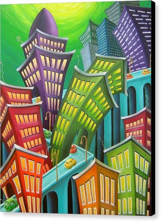 Urban Canvas Print featuring the painting Urban Vertigo by Eva Folks