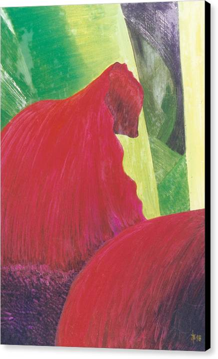 Red Canvas Print featuring the painting Expectations by Ingela Christina Rahm