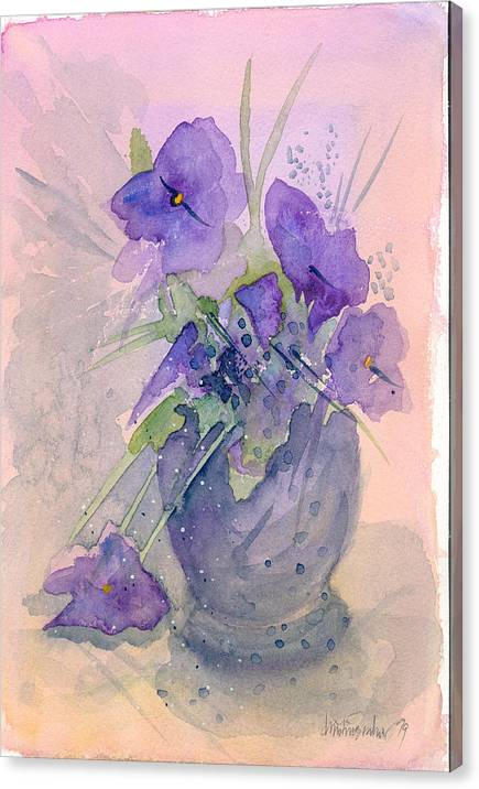 Purple Canvas Print featuring the painting Violets by Ingela Christina Rahm