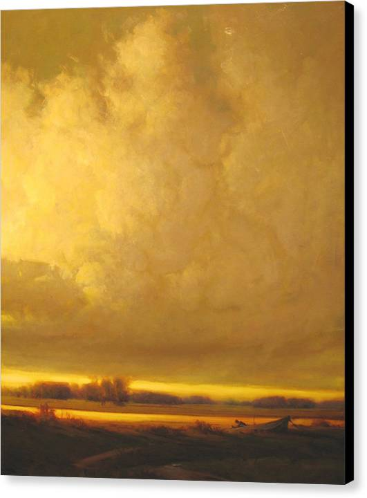 Landscape Canvas Print featuring the painting Fished Out by Martin Poole