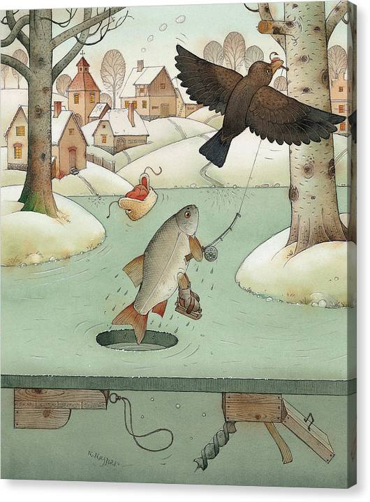 Landscape Winter Fishing Crow Canvas Print featuring the painting Fishing by Kestutis Kasparavicius