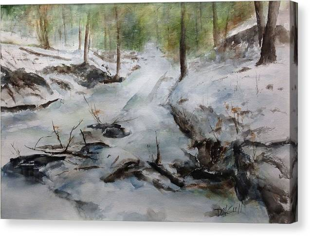 Landscape Canvas Print featuring the painting Frozen Creek by Don Cull