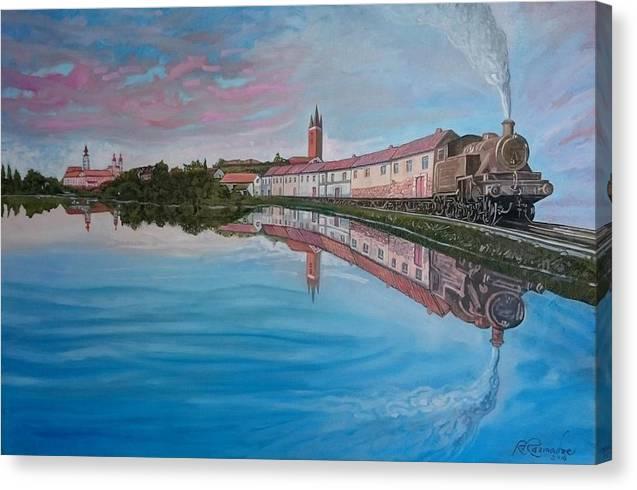Train Canvas Print featuring the painting My Train by Ramaz Razmadze