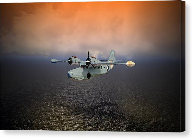 Aviation Canvas Print featuring the digital art Long Trip Home by Mike Ray