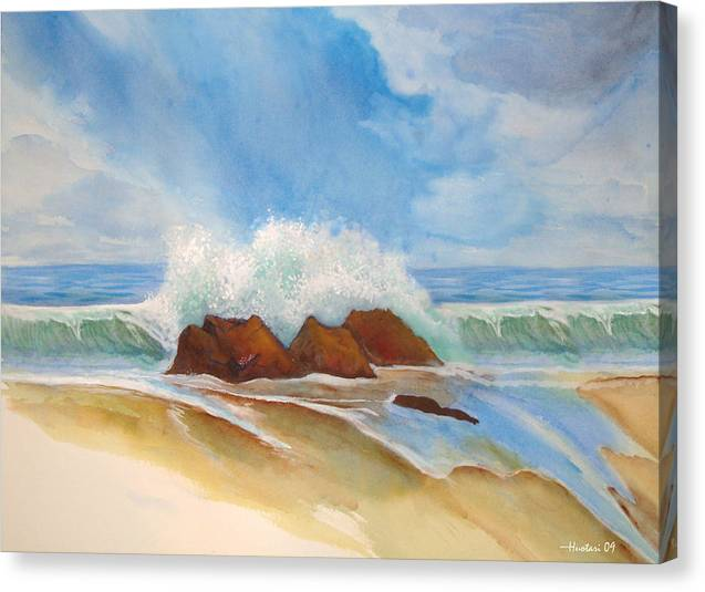 Rick Huotari Canvas Print featuring the painting Beach Front by Rick Huotari