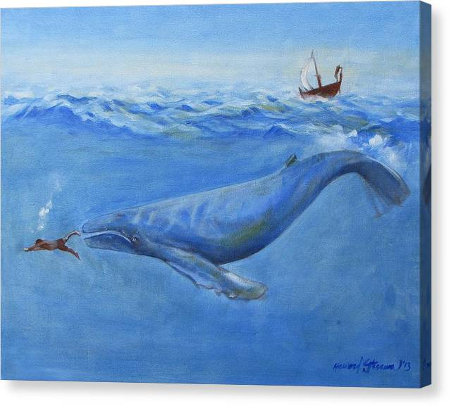 Bible;jonah And The Whale;whale;humpback Whale;mammals;sea Mammals;stormy Sea;fish;boat;waves;religion;old Testiment;spiritual;god And Religion;ad;seascape;water;sky;weather Canvas Print featuring the painting Jonah by Howard Stroman