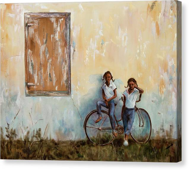 Bike Canvas Print featuring the painting Girls With A Bike by Ray Cole