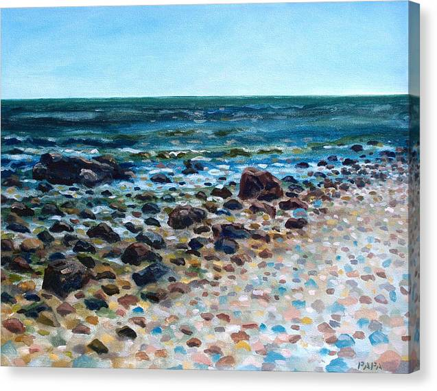 Montauk Point Canvas Print featuring the painting Tides Out by Ralph Papa