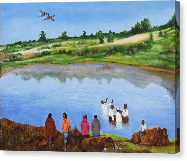 Baptism;church;religion;ceremony;river;water;birds;landscape;trees;rocks;people;bible;nature;outdoors;sky Canvas Print featuring the painting Arrival At The Baptism by Howard Stroman