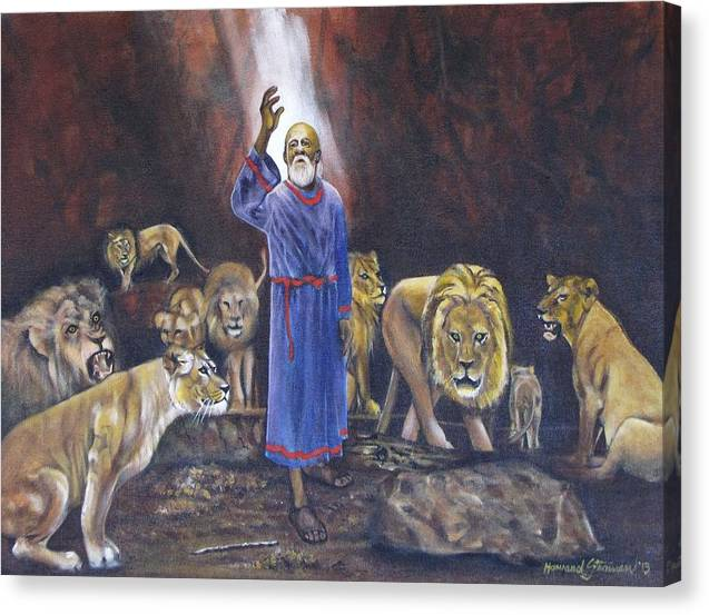 Daniel In The Lions Den; Lions; Animals; Rock; Bible; Biblical; Religion; Old Testiment; Canvas Print featuring the painting Daniel by Howard Stroman
