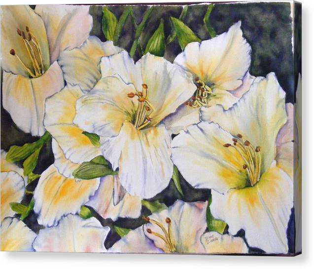 Floral Canvas Print featuring the painting Daylilies by Diane Ziemski