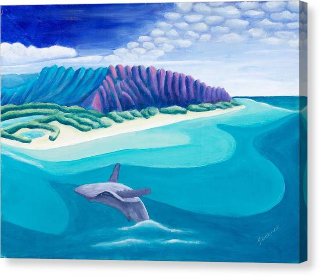Landscape Canvas Print featuring the painting Hawaiian Playground by Lynn Soehner