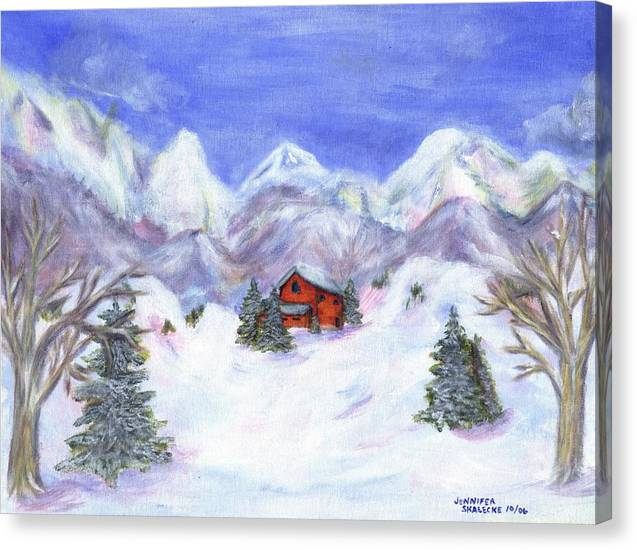 Winter Canvas Print featuring the painting Winter Wonderland - www.jennifer-d-art.com by Jennifer Skalecke