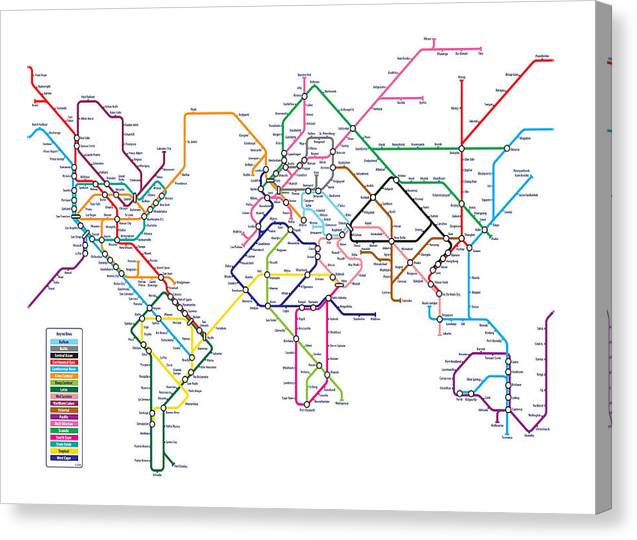 World Map Canvas Print featuring the digital art World Metro Map by Michael Tompsett