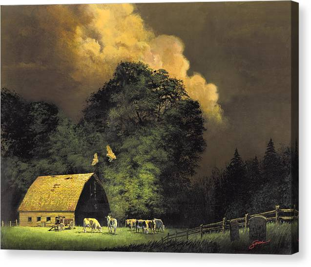 #home From The Hunt Canvas Print featuring the painting Home From The Hunt by Harold Shull