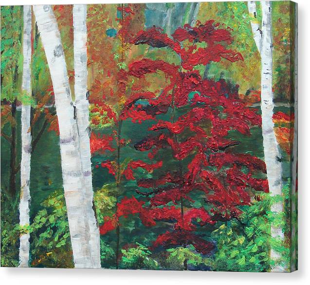 Forest Canvas Print featuring the painting Birch Trees in Red by Frankie Picasso