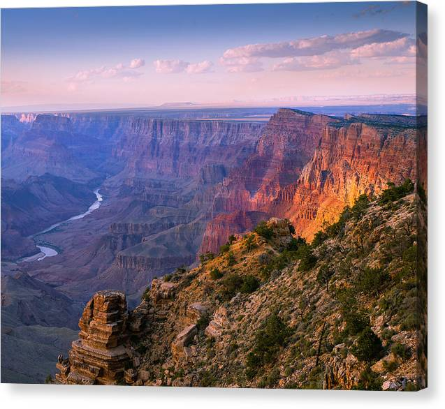 Beautiful Grand Canyon Colors Canvas Print featuring the photograph Canyon Glow by Mikes Nature