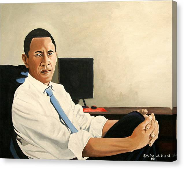 President Elect Obama Canvas Print featuring the painting Looking Presidential by Patrick Hunt