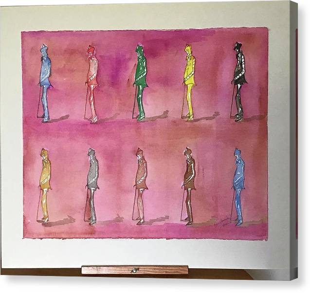 Figures Canvas Print featuring the painting James Joyce the Pluralist, Paris by Roger Cummiskey