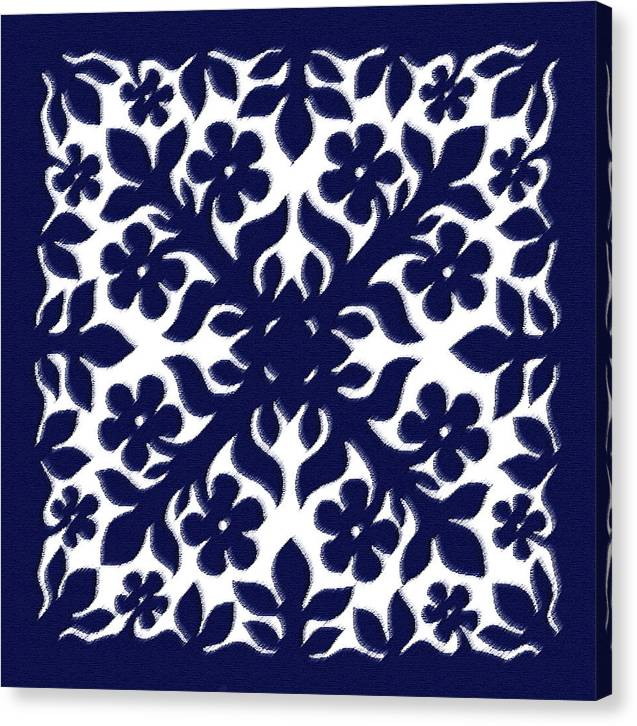 Hawaii Iphone Cases Canvas Print featuring the digital art Blue Plumeria Quilt by James Temple
