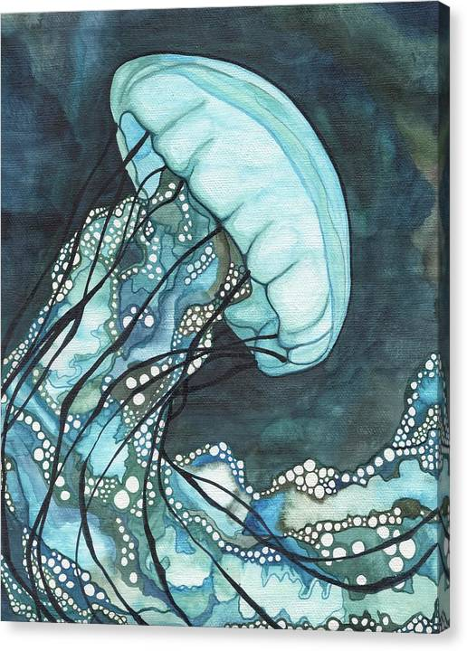 Jellyfish Canvas Print featuring the painting Aqua Sea Nettle by Tamara Phillips