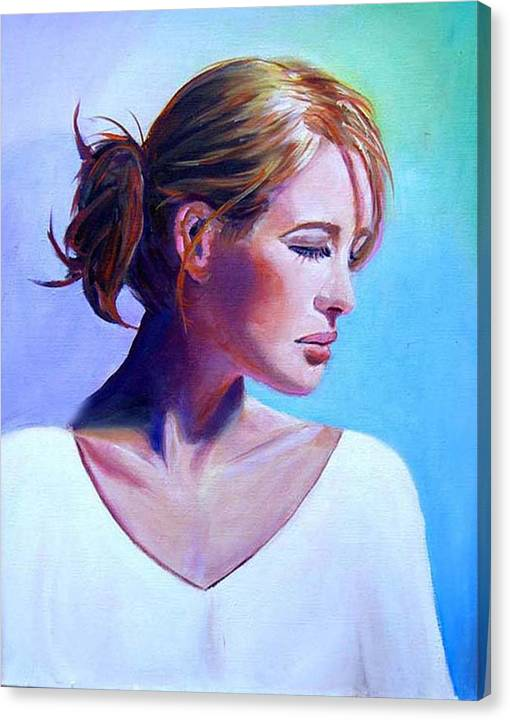 Portrait Of A Beautiful Woman Canvas Print featuring the painting Elaine by George Markiewicz