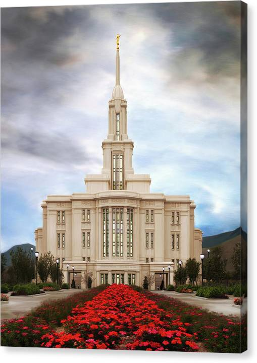 Payson Canvas Print featuring the painting Payson Temple #3 by Brent Borup