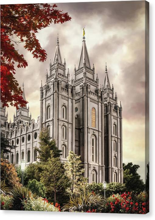 Salt Lake Canvas Print featuring the painting Salt Lake Temple #8 by Brent Borup