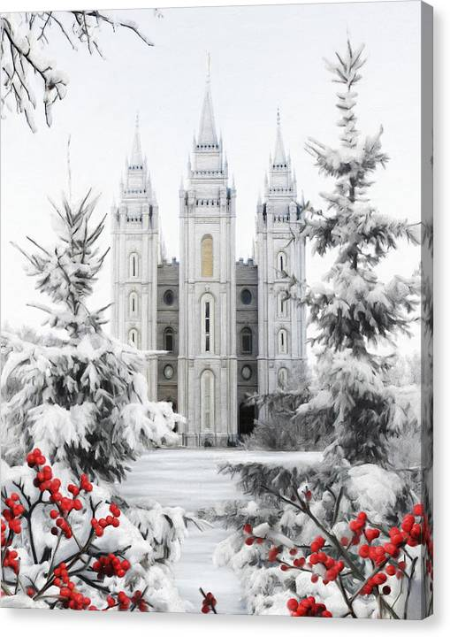 Salt Lake Canvas Print featuring the painting Salt Lake Temple - Winter Wonderland by Brent Borup
