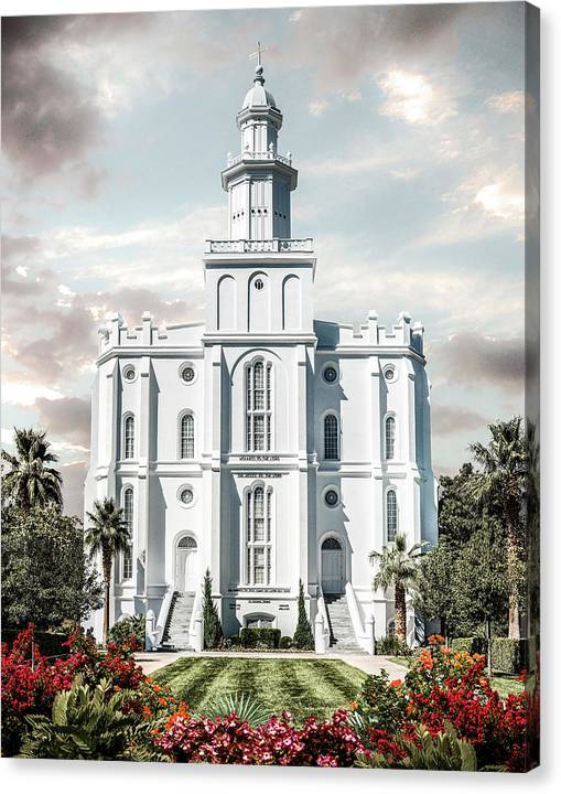 Saint Canvas Print featuring the photograph St George Temple - Tower of the Lord by Brent Borup