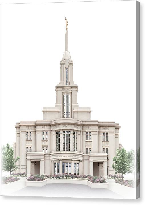 Payson Canvas Print featuring the digital art Payson Temple - Celestial Series by Brent Borup