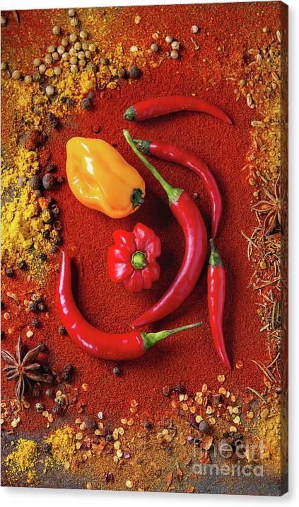 Spicy background with chili peppers by Natasha Breen