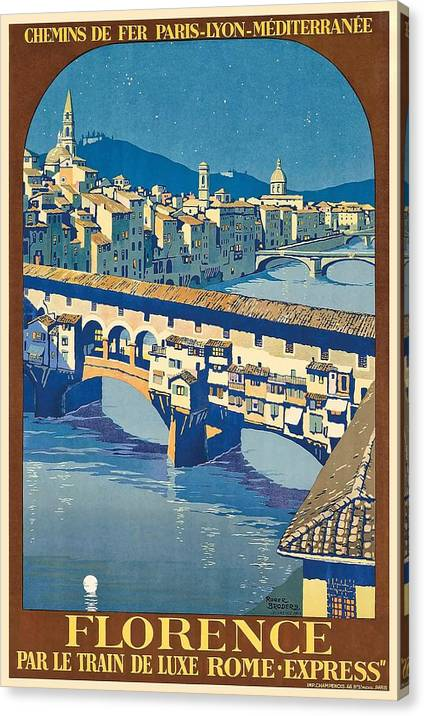 1921 Florence Italy Ponte Vecchio Travel Poster by Retro Graphics